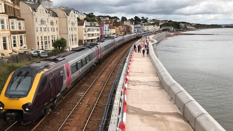Vital rail link to the south west now better protected as first section of new Dawlish sea wall built