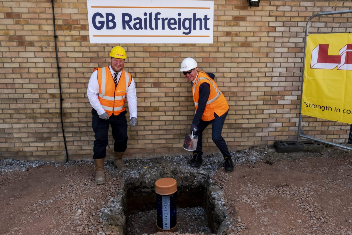 GB Railfreight mark next phase of construction of new office by burying 'time capsule' at Peterborough site