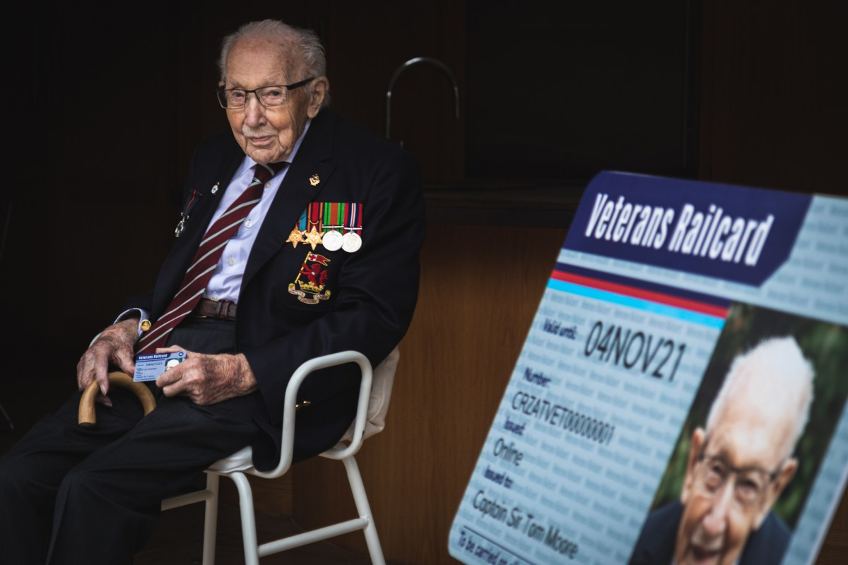 Captain Sir Tom Moore presented with first Veterans' Railcard