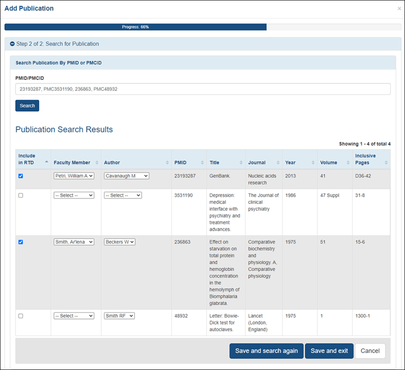 The new search results table on the Publications Search Results screen, where publications can be selected and associated with faculty and authors.