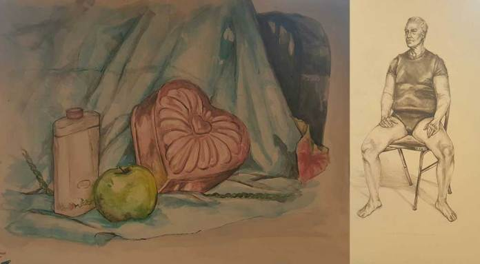 drawings by Gillian Bambule of Plainfield (Ill.) High School - Central Campus, including a still-life and a black-and-white portrait, drawn for an art contest to win a scholarship to the American Academy of Art in Chicago