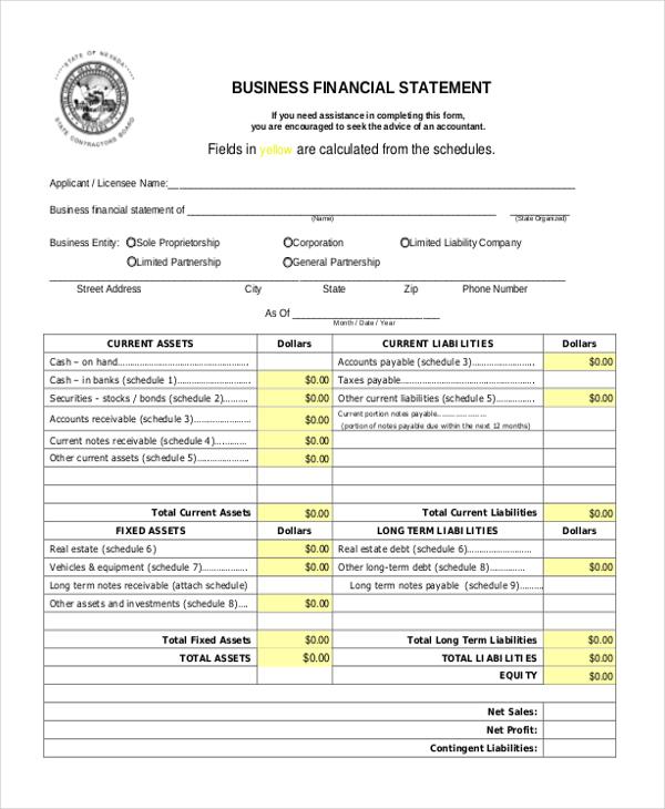 blank business financial statement news