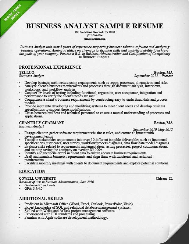 Resumes For Business Analyst News