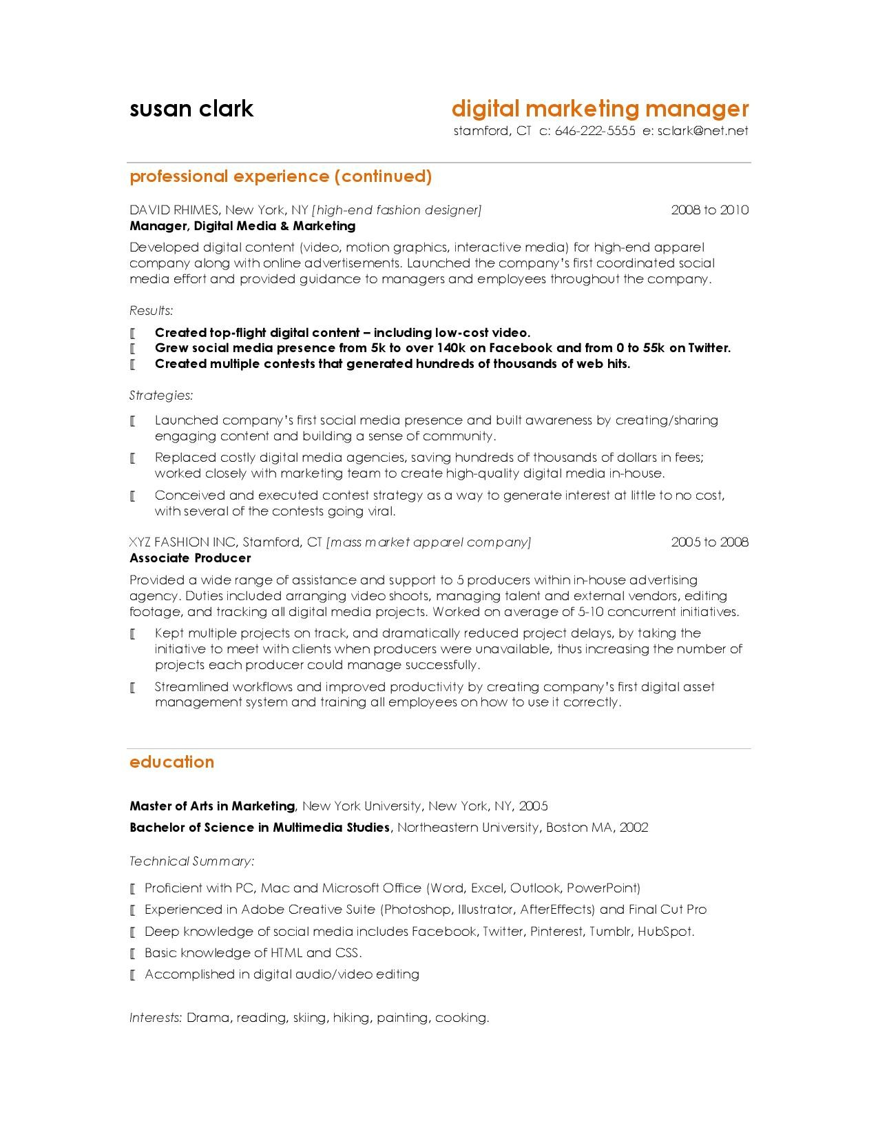 Content Marketing Template Unique 10 Resume Samples Hiring Managers Will Notice