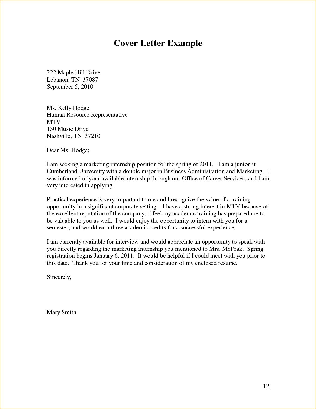 Business Internship Cover Letter News