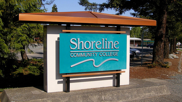 College entrance sign
