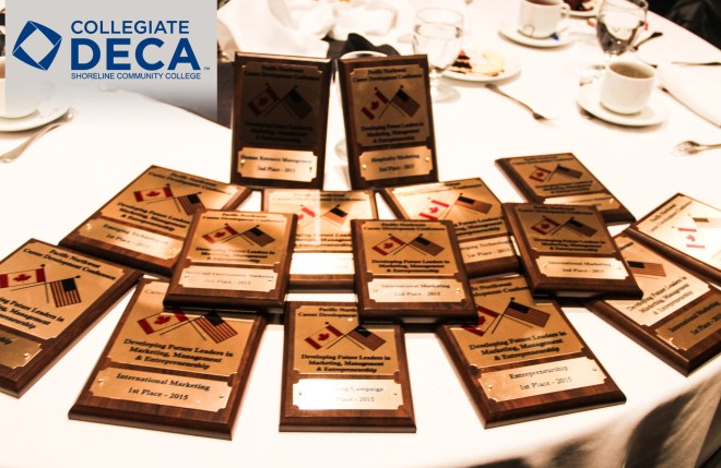 The DECA 2015 Team's collection of awards from the Collegiate DECA Pacific Northwest Career Development Conference held Feb. 19-21 in Victoria, BC.