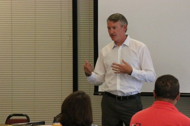 Brian Young, Governor Inslee's Clean Technology Sector Lead, spoke at Shoreline Community College on Tues., August 18.