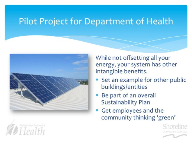 A sample slide from Shoreline's CET students' proposal to the Washington State Department of Health's Public Health Laboratories.