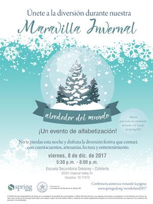 Spring ISD celebrará un Evento de Alfabetización durante su Maravilla Invernal para Estudiantes de Primaria e Intermedia el 8 de diciembre