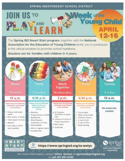 Join us to play and learn during Week of the Young Child April 12-16, 2021