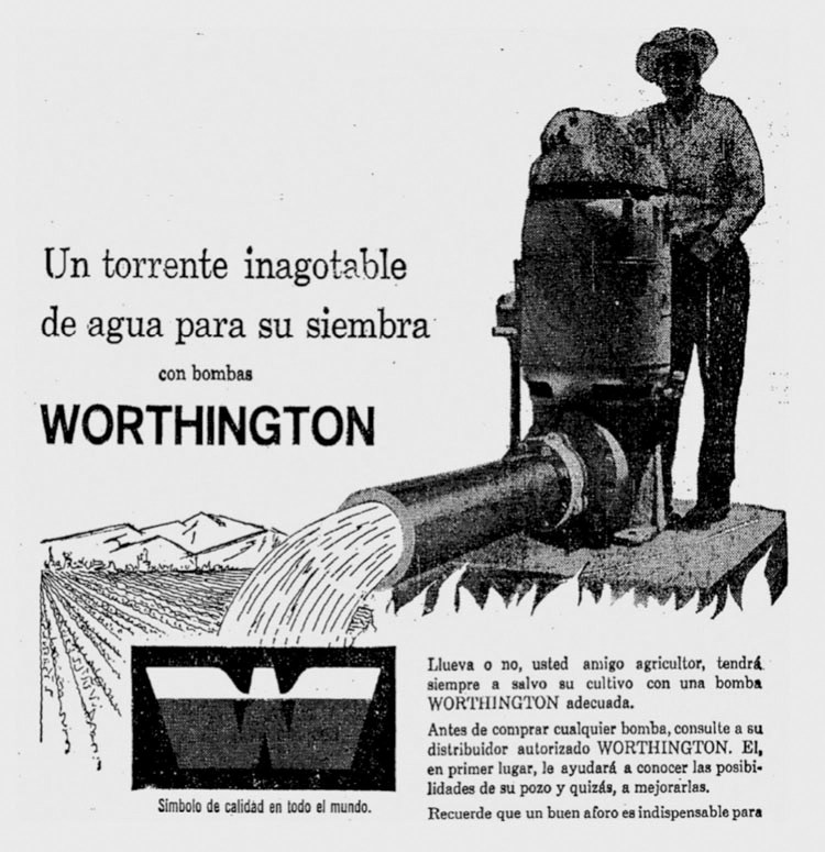Spanish language ad for Worthington water pump