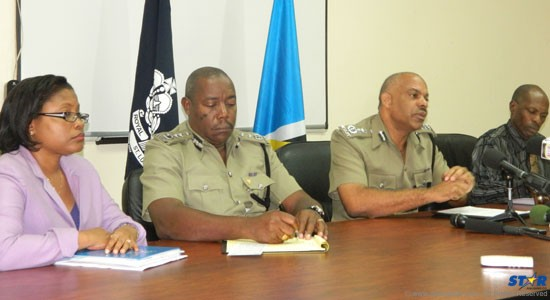 : L-R: Police administrator Philomene St Clair, Deputy Police Commissioner Errol Alexander, Police Commissioner Vernon Francois and Assistant Commissioner in Charge in Crime Athanatius Mason.