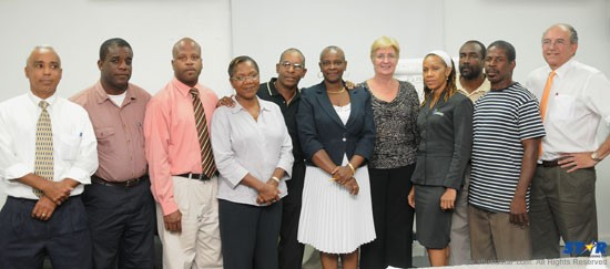 President of the St Lucia Olympic Committee, Fortuna Belrose (centre) and executive members.