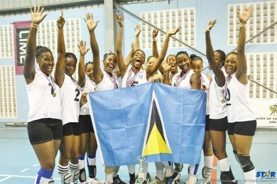 Saint Lucia's triumphant women's junior volleyball team that won the ECVA title.
