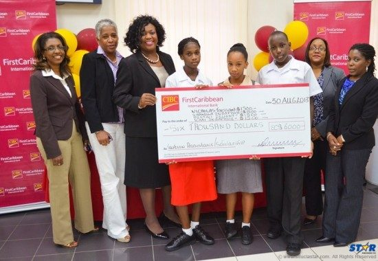 Bank manager and staff during last week's check presentation.