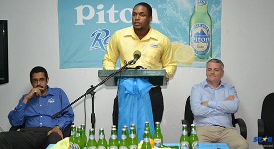 WLBL's Thomas Leonce, Rohan Lovence-Piton Brand manager, and General manager Greg Graves introduces the media to Piton Radler.