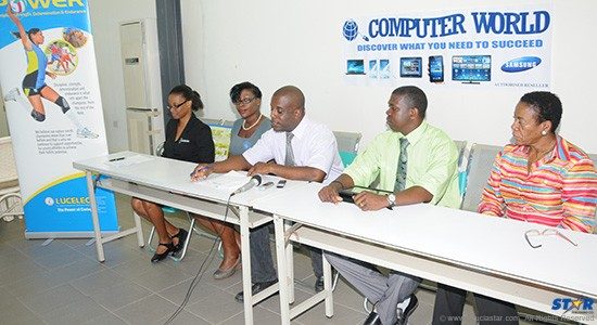 From L to R officials at the recent launch of the Tennis Tournament:  Corporate Communications Assistant at LUCELEC, Bernardie Regis; Inventory Sales Representative at Computer World, Samantha Gilbert; Manager of the NTC, Ricardo Bowe; Ministry of Youth Development and Sports official, Clives Jules and Theophelia Charles, Ministry of Education.
