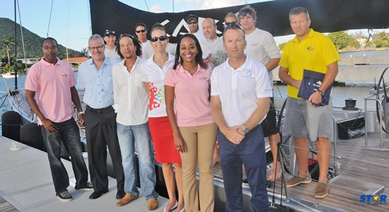 Caro and crew members (back row) along with officials with the St Lucia Tourist Board, the IGY Rodney Bay Marina and ARC Committee personnel.
