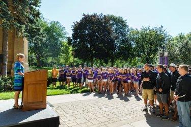 President Julie Sullivan spoke as well. (Photo by Mark Brown)