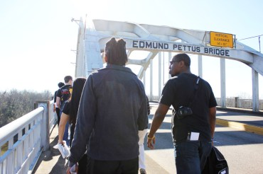 Excel! Research Scholars cross the Edmund Pettus Bridge in Selma, Alabama. Photo by Kathryn Hubly.