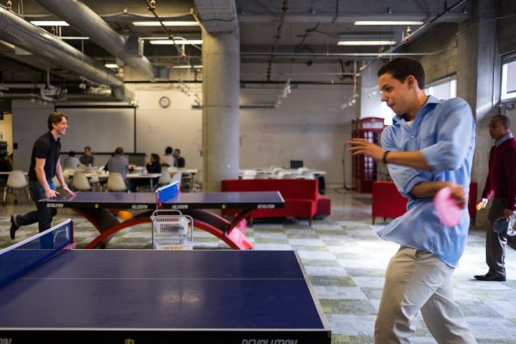 Students take advantage of the Ping Pong tables scattered around the Pivotal offices.