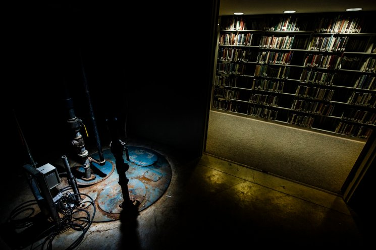 The library pump room resides in a closet.