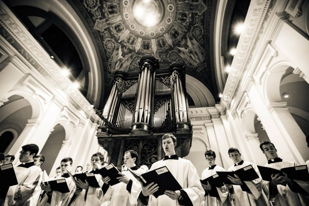 Seminarians sing during the opening Mass.