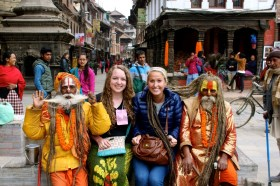 """Third Place, International Experience: Tori Soderberg, Kathmandu Valley, Nepal. """"Smilin' Sadhus: Throughout the different towns of the valley, we would frequently see sadhus on the street. They were always a sight to see with their long hair and colorful, painted faces. A sadhu is a Sanskrit word for a 'religious ascetic' or 'holy man.' The two pictured had never had their hair cut before."""""""