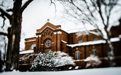 The Chapel of St. Thomas Aquinas in snow.