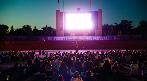 Movie night in O'Shaughnessy Stadium.