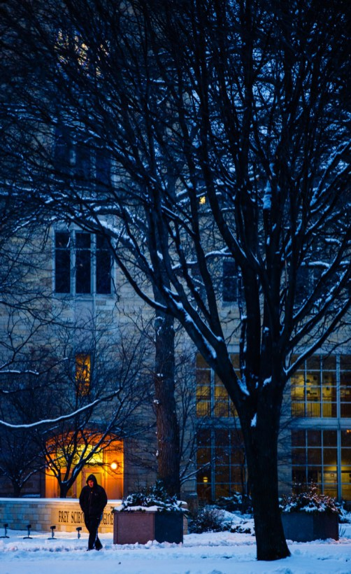 Owens Science Hall at dusk.
