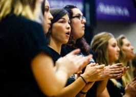 Student a cappella group Cadenza performed during the welcoming assembly.