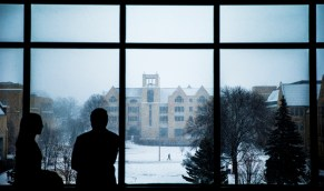 O'Shaughnessy-Frey Library seen on a snowy day.