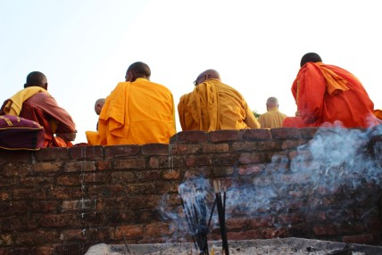 "Honorable mention, Sense of Place: Madeline Davenport, Uttar Pradesh, India. ""Peaceful Gathering: Buddhist monks gather at Shravasti in Uttar Pradesh, India, where the Buddha is rumored to have spent 24 holy seasons. Hundreds of monks visit this holy site as part of a pilgrimage they complete during their lifetimes."""