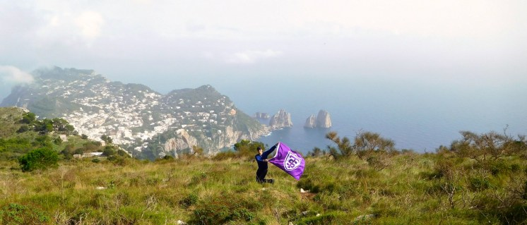 "Second place, Tommies Abroad: John Burns, Capri, Italy. ""Tommies for the Common Good: After a private boat tour around the island and riding a 15-minute individual chair lift, we enjoyed lunch with a beautiful view from the top of the Capri mountain."""