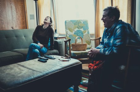 """Nelson and Mary Jo Pehl crack each other up during a break in their """"Angel's Revenge"""" recording session."""