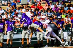 Senior wide receiver Luke Iverson makes an amazing catch down the sideline during Tommie-Johnnie.