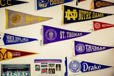 Cullen's St. Thomas pennant is displayed in the news room.