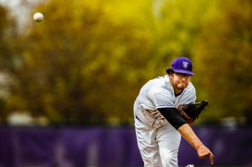 Mitch Larson pitches during a baseball game vs Hamline April 29, 2017 on Koch Diamond. The Tommies beat the Pipers in both games of the double header 4-3 and 9-3.