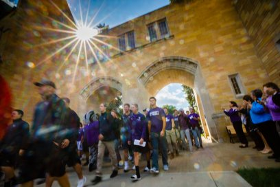 Incoming freshmen march through the Arches during the March Through the Arches September 5, 2017.