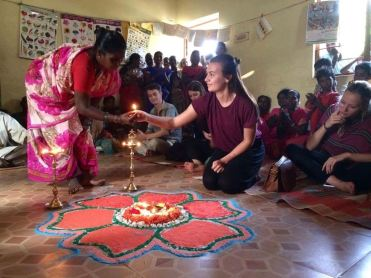 """Second place, Global Classroom: Alexandra Jensen, Chengalpattu, India. """"Connections: A welcoming ceremony in a rural village. The whole village came to welcome us and show us their homes."""""""