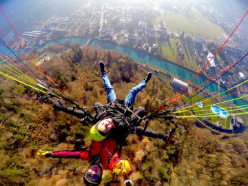 """Third place, Most Epic Selfie: Jake Hartmann, Interlaken, Switzerland. """"Free Fallin': This photo was taken while I was paragliding above the city of Interlaken, Switzerland. The canal below connects Lake Brienz and Lake Thun, the two lakes that surround the town. From this height there was also an amazing view of the Bernese Alps!"""""""