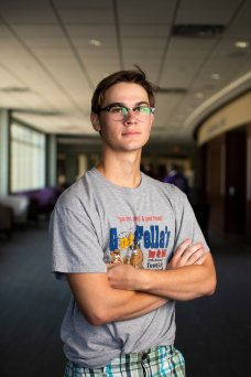 Portrait of first-year Chase Horrigan outside of the James B. Woulfe Alumni Hall in the Anderson Student Center during the Proud To Be First reception on Aug. 31, 2018.