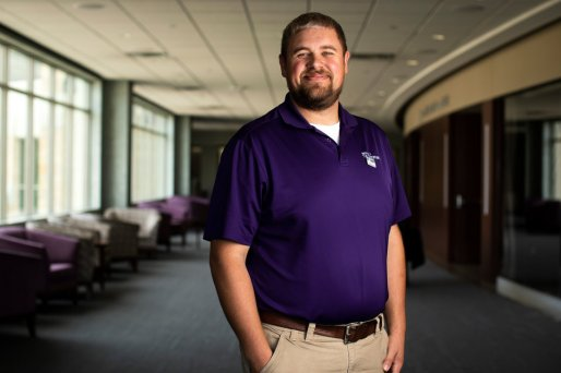 Portrait of Student Affairs staff Vern Klobassa outside of the James B. Woulfe Alumni Hall in the Anderson Student Center during the Proud To Be First reception on Aug. 31, 2018.