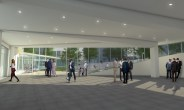 A rendering shows plans for the lobby space inside the Chapel of St. Thomas Aquinas.