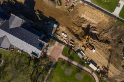 Aerial view of construction on the Iversen Center for Faith.