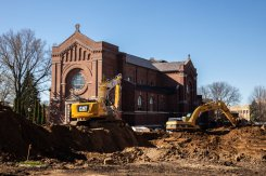 Crews work on the Iversen Center for Faith.