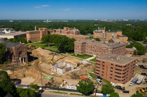 Aerial view of construction on the Iversen Center for Faith and Residence Halls.