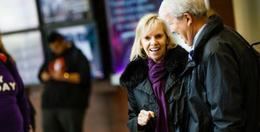 Trustees Ann Winblad and Stephen Nachtsheim chat during a donor reception in the Anderson Student Center's Create Space prior to a launch event for a new Student Achievement and Success initiative November 16, 2017. The initiative seeks to raise $200 million for student scholarships and was kicked off by a $50 million donation by the GHR foundation.